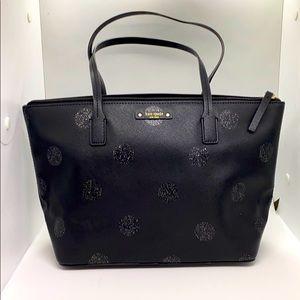 Black Glitter Polka Dot Kate Spade Small Tote Bag